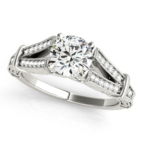 Vintage Inspired Engagement Ring with Filagree and Split Shank