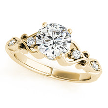 Load image into Gallery viewer, Round Cut Solitaire Engagement Ring with Decorative Filigree