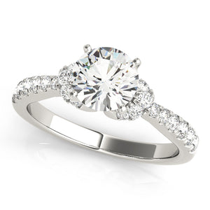 Round Cut Engagement Ring with Twin Accents