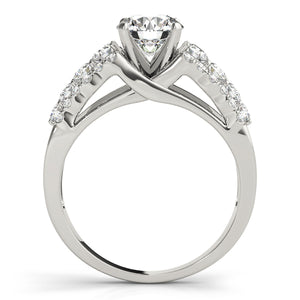 Cathedral Style Round Cut Engagement Ring with Accented Split Shank