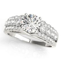 Load image into Gallery viewer, Cathedral Style Round Cut Engagement Ring with Accented Split Shank