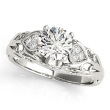 Load image into Gallery viewer, Antique Style Round Cut Filigree Engagement Ring