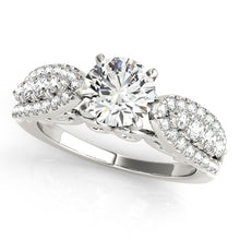 Load image into Gallery viewer, Vintage Inspired Round Cut Engagement Ring with Pave Accents