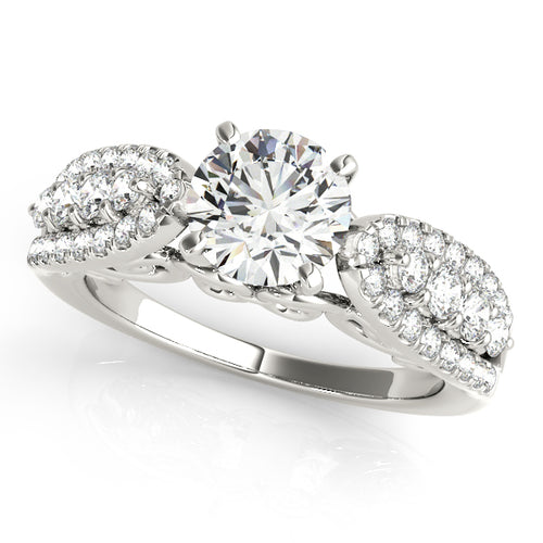 Vintage Inspired Round Cut Engagement Ring with Pave Accents