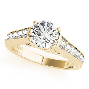 Embellished Round Cut Engagement Ring with Channel Set Accents