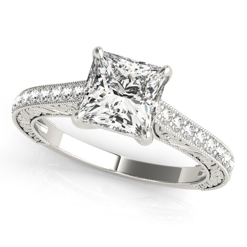 Princess Cut Filigree Trellis Setting with Accent Stones