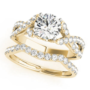Round Cut Engagement Ring with Infinity Design and Filigree Accents