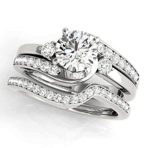 Wedding Set- 14K White Gold- Round Cut Double Row Engagement Ring with Accents