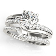Load image into Gallery viewer, Round Cut Cathedral Style Engagement Ring with Glittering Accents