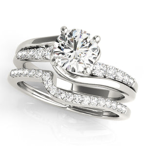 Round Cut Cathedral Style Engagement Ring with Glittering Accents