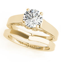 Load image into Gallery viewer, Cathedral Style Round Cut Engagement Ring with Filigree Accents