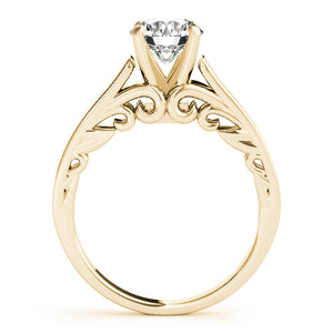 Cathedral Style Round Cut Engagement Ring with Filigree Accents