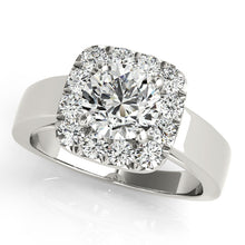 Load image into Gallery viewer, Round Cut Engagement Ring with Square Halo