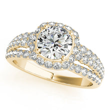 Load image into Gallery viewer, Round Cut Engagement Ring with Accented Halo and Triple Split Shank
