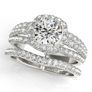 Round Cut Engagement Ring with Accented Halo and Triple Split Shank