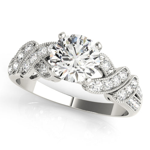 Vintage Round Cut Engagement Ring with Crisscrossed Details
