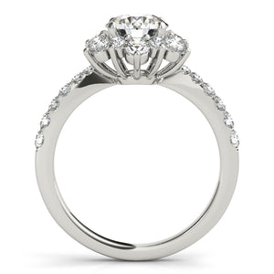 Round Cut Engagement Ring with Flowered Halo