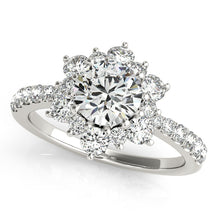 Load image into Gallery viewer, Round Cut Engagement Ring with Flowered Halo