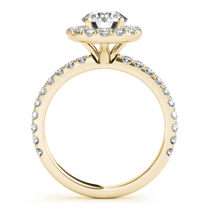 Round Cut Halo Engagement Ring with Scalloped Accents