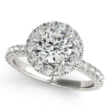 Load image into Gallery viewer, Round Cut Halo Engagement Ring with Scalloped Accents