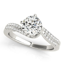 Load image into Gallery viewer, Round Cut Engagement Ring with Double Pave Accents
