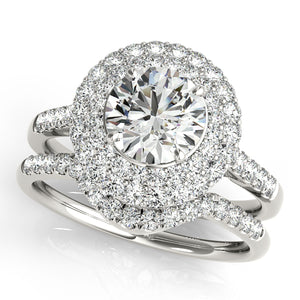 Glamorous Round Cut Engagement Ring with Halo