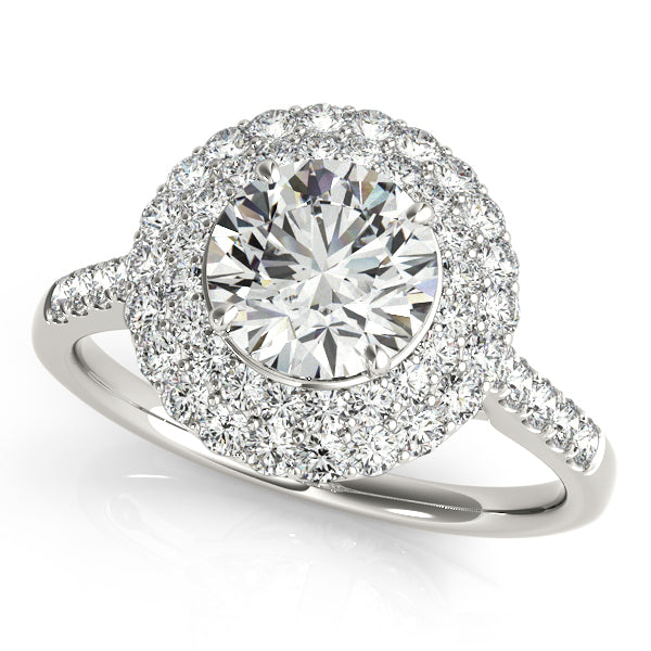 Double Halo Round Cut Engagement Ring