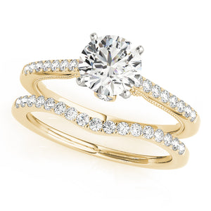 Elegant Milgrained Accented Round Cut Engagement Ring
