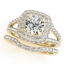 Load image into Gallery viewer, Round Cut Engagement Ring with Double Tier Halo and Split Shank