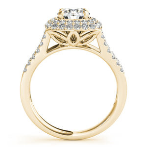 Round Cut Engagement Ring with Double Tier Halo and Split Shank