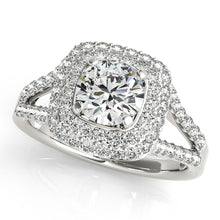Load image into Gallery viewer, Round Cut Engagement Ring with Double Halo and Split Shank