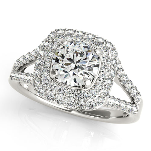 Round Cut Engagement Ring with Double Halo and Split Shank