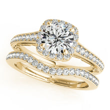 Load image into Gallery viewer, Round Cut Halo Engagement Ring with Filigree and Side Accents