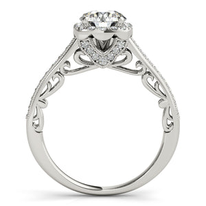 Round Cut Halo Engagement Ring with Filigree and Side Accents
