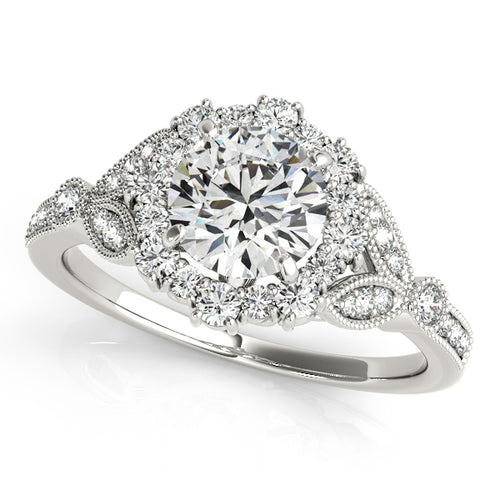 Vintage Style Round Cut Halo Engagement Ring with Milgrain
