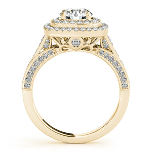 Vintage Style Round Cut Engagement Ring with Double Halo