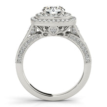 Load image into Gallery viewer, Vintage Style Round Cut Engagement Ring with Double Halo