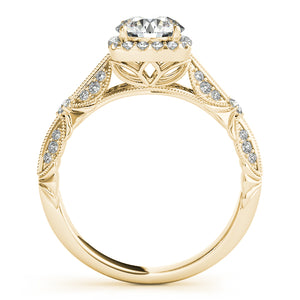Round Cut Halo Engagement Ring with Beaded Milgrain Accents