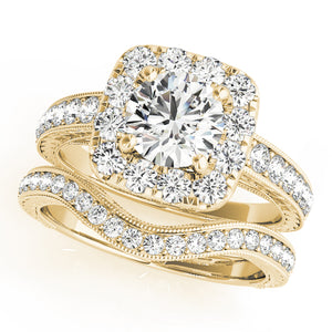 Round Cut Halo Engagement Ring with Channel Set Accents