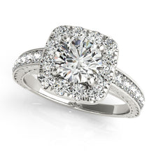 Load image into Gallery viewer, Round Cut Halo Engagement Ring with Channel Set Accents