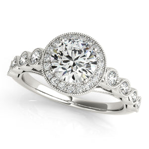 Round Cut Infinity Halo Engagement Ring with Peekaboo Accents