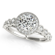 Load image into Gallery viewer, Round Cut Halo Engagement Ring with Peekaboo Accents