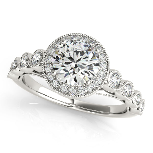 Round Cut Halo Engagement Ring with Peekaboo Accents