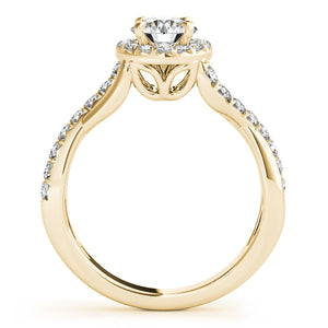 Asymmetrical Infinity Style Engagement Ring with Halo