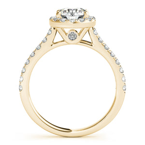 Round Cut Halo Engagement Ring with Peekaboo Accent Stones
