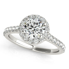 Load image into Gallery viewer, Round Cut Halo Engagement Ring with Peekaboo Accent Stones
