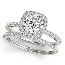 Load image into Gallery viewer, Round Cut Engagement Ring with Square Halo and Accents