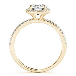 Round Cut Engagement Ring with Square Halo and Accents