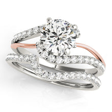 Load image into Gallery viewer, Round Cut Engagement Ring with a Twist of Scalloped Accents