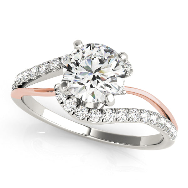 Round Cut Engagement Ring with a Twist of Scalloped Accents